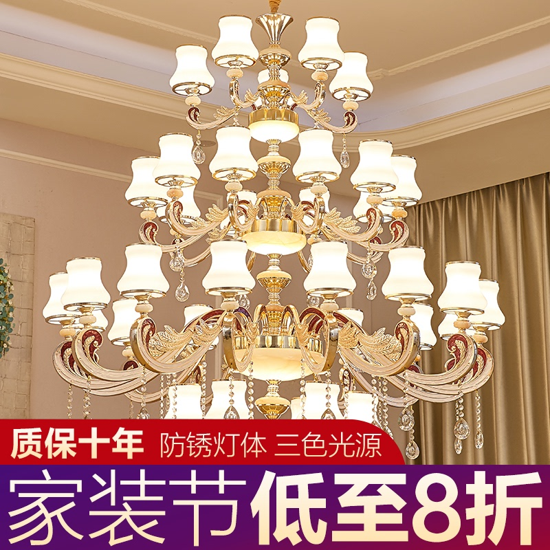 European style villa living room big chandelier building middle floor double story hollow staircase lamp atmosphere luxury crystal three floor lamps