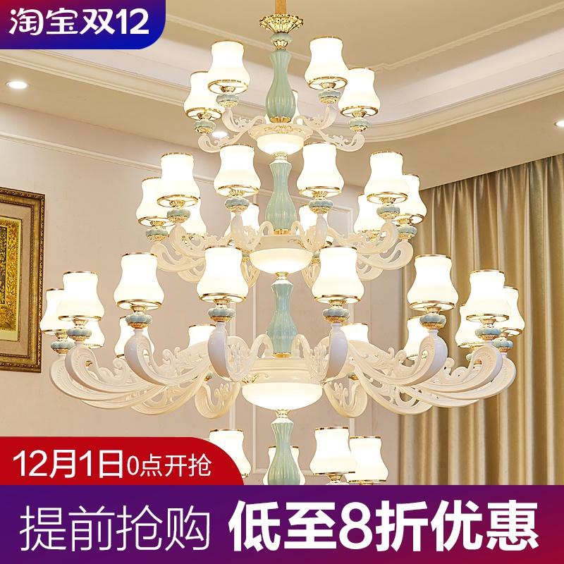 Large chandelier in duplex building, luxurious atmosphere, European style villa, living room, mid floor, hollow and simple, modern stair long Chandelier