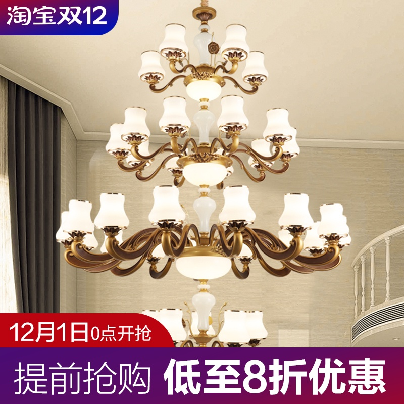 Large chandelier in duplex building, luxurious atmosphere, European style villa, living room, mid floor, hollow, three floors, five floors, long Chandelier