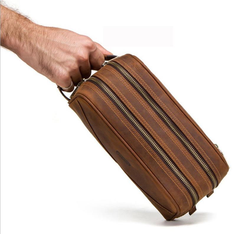 New mens handbag, handbag, leather, crazy horse skin, business, large capacity wash bag, make-up bag for business trip