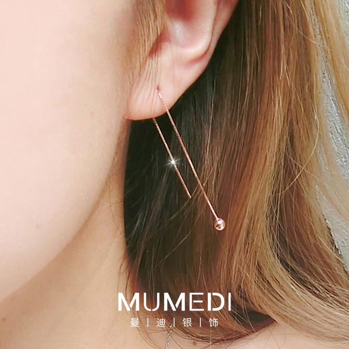 S925纯银耳线女长款流苏耳环韩国气质耳钉耳链简约超仙2020新款潮