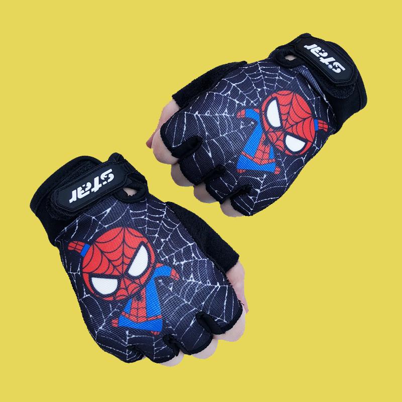 卡通蜘蛛侠男女儿童手套户外骑行表演自行车学生写字运动半指手套
