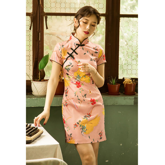 Lovely girl cheongsam retro literature and art improved dress young style daily age reduction small short fashion