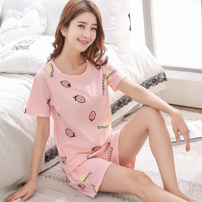 夏季纯棉卡通短袖短裤女人夏睡衣
