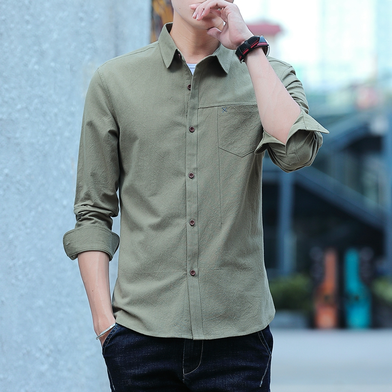 Men's Long Sleeve Shirt Men's Autumn Trend Fashion/White Slim Fit Cotton Business Shirt Male Tide JB0101