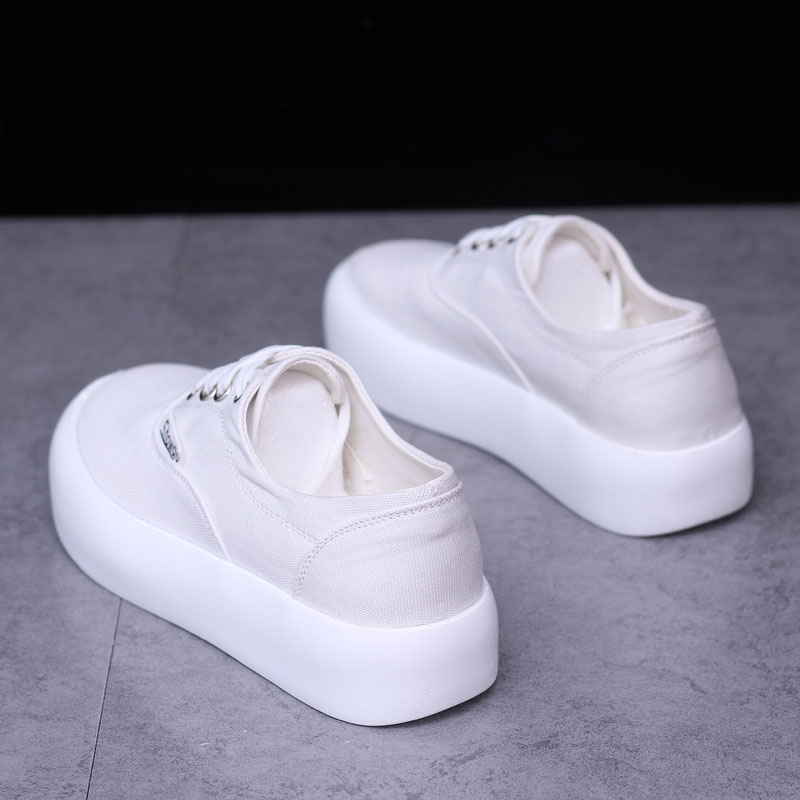 2021 light shoes womens ins super fire leisure year new Korean version versatile canvas student thick bottom muffin small white shoes