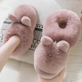 棉拖鞋女冬包跟家居厚底防滑月子鞋毛绒可爱加厚冬天保暖拖鞋家用