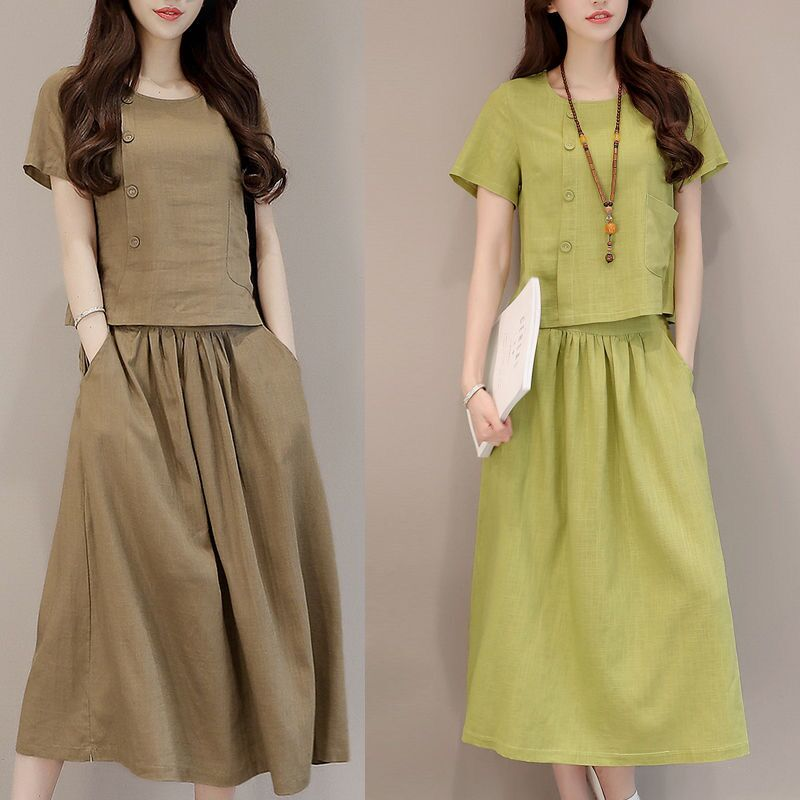 Long and medium length literary and art RETRO cotton dress 2020 summer new cotton linen suit two piece set for women