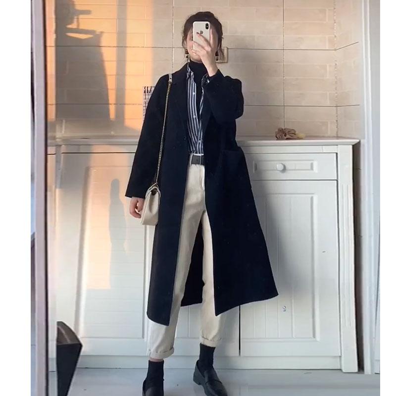 2020秋冬新款森系赫本风羊毛呢子大衣女中长款韩版宽松毛呢外套女