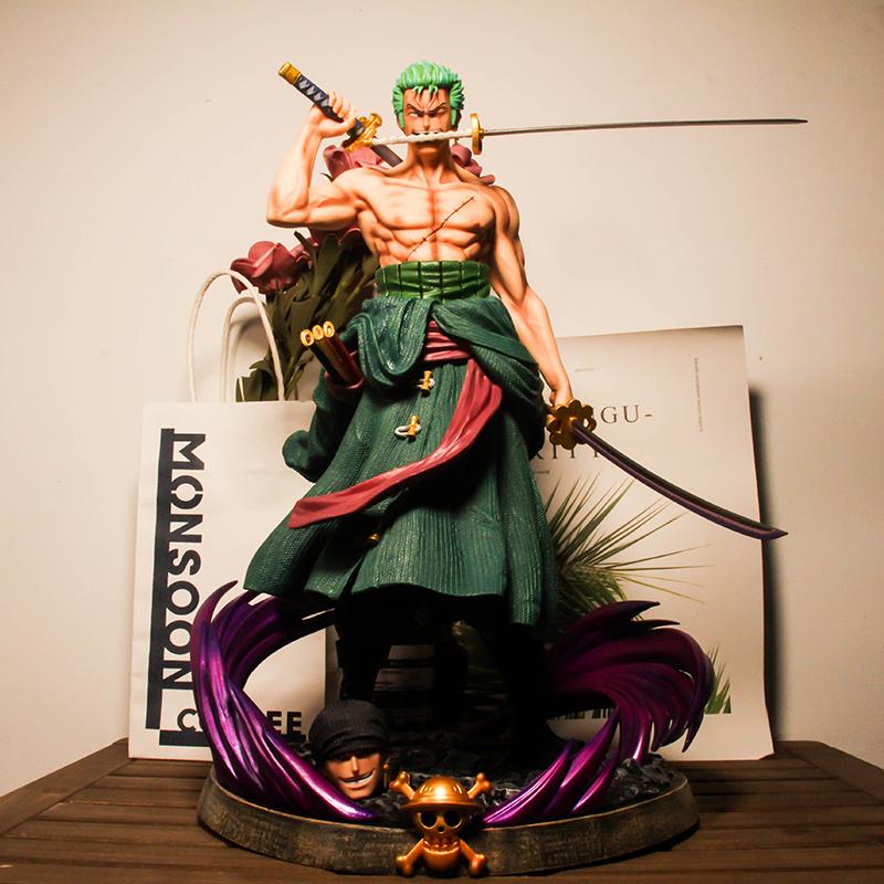 海贼王手办三千世界索隆双头雕三刀流GK雕像超大型模型摆件周边