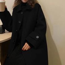 毛呢外套女2019秋冬新款流行赫本风显瘦黑色呢子大衣中长款小个子