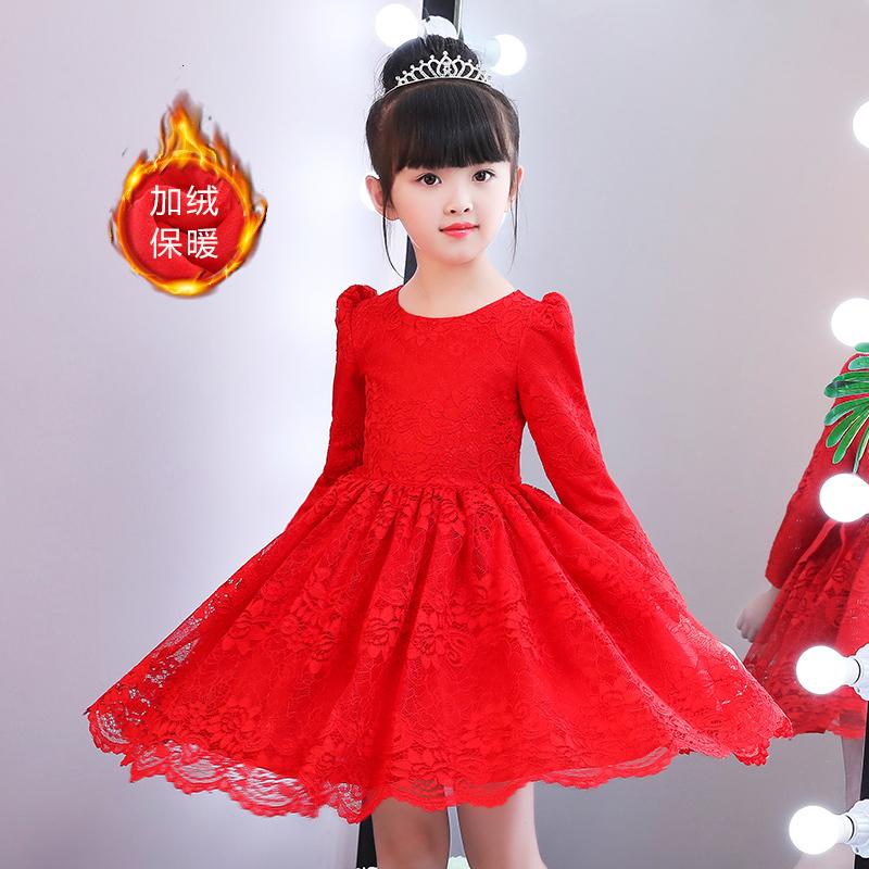 Платье принцессы девочки осень зима плюс бархат платье 2017 в новый заправила длинный рукав западный стиль ребенок платья юбка