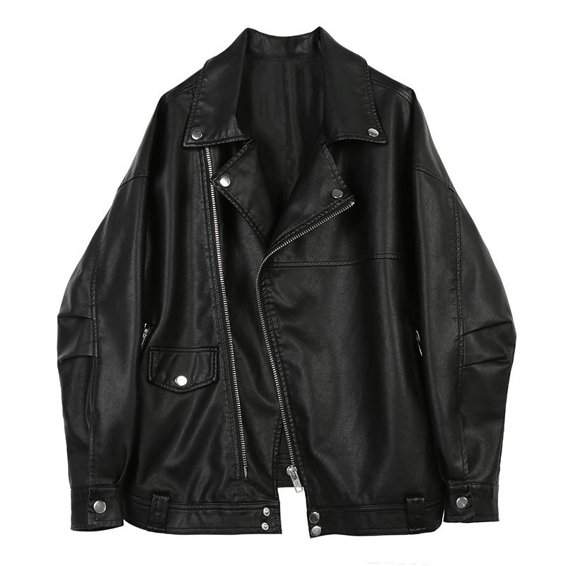 Spring 2020 new leather coat women's loose oversizepu leather locomotive BF wind loose retro top