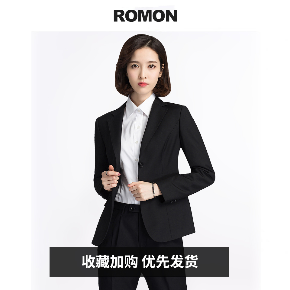 Romon 2021 ladies suit suit dress casual career spring autumn work black small suit jacket