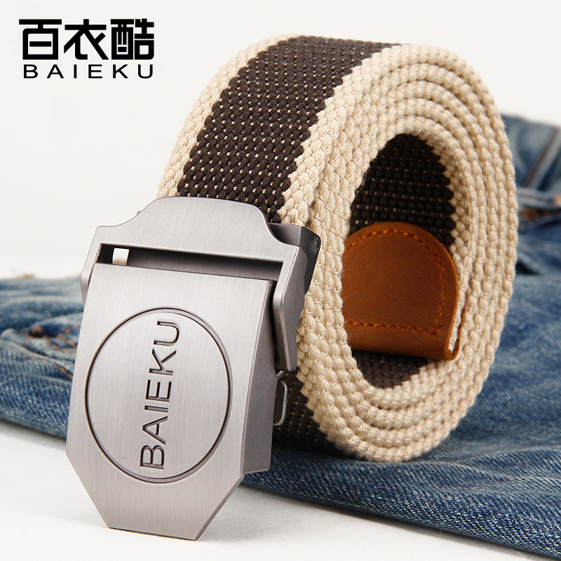 100 clothes cool trouser belt outdoor mens leisure mens belt automatic buckle Korean youth smooth buckle extended canvas belt