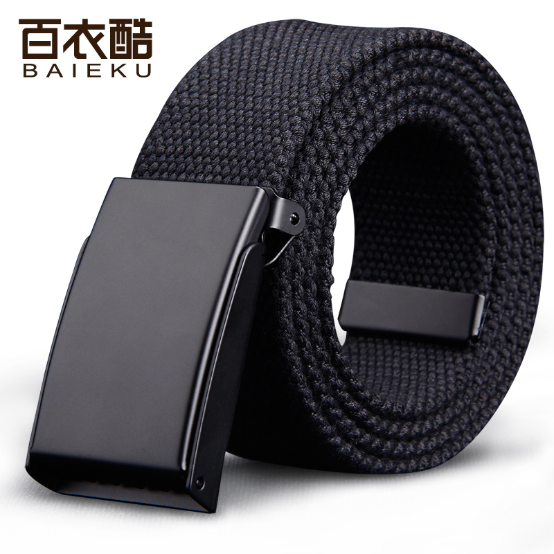 Baiyi cool canvas belt mens canvas belt Korean version simple versatile Chaoren smooth buckle belt