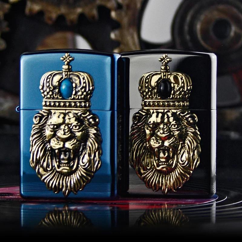 zippo煤油打火机 原装正品 日版黑冰蓝冰贴章狮子皇冠绿松石正版