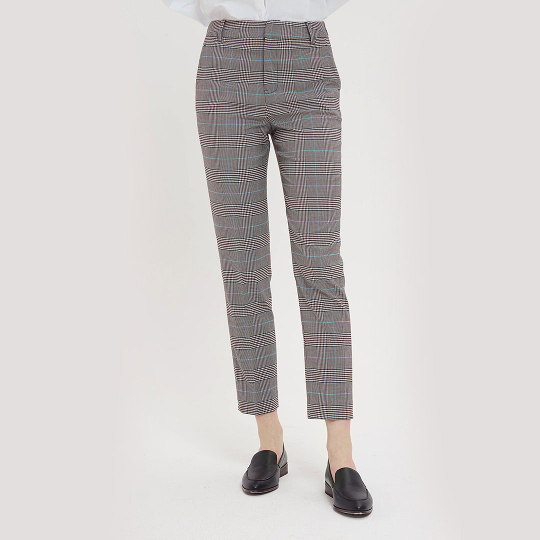 10:07 spring and summer womens Retro micro elastic Welsh check Capris vertical cut slim comfortable breathable tapered pants
