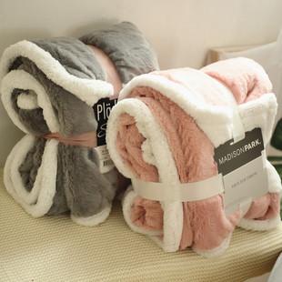 出口北美PV绒加厚双层午睡毛毯沙发毯轻奢风仿皮草毯子民宿盖毯