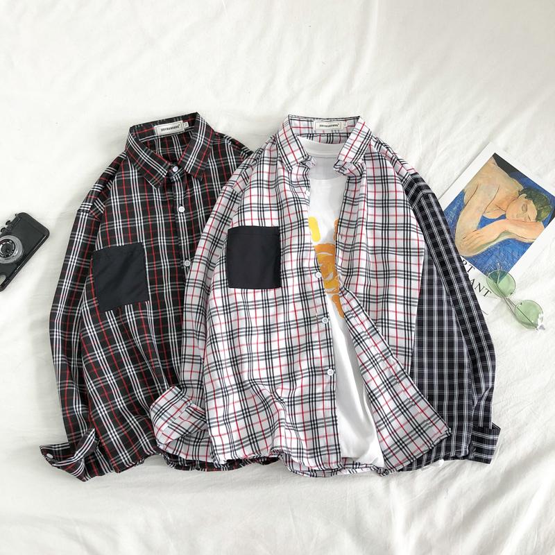 2020秋季新款拼接格子情侣长袖开衫衬衫 SC85-P38 (M-XXL).