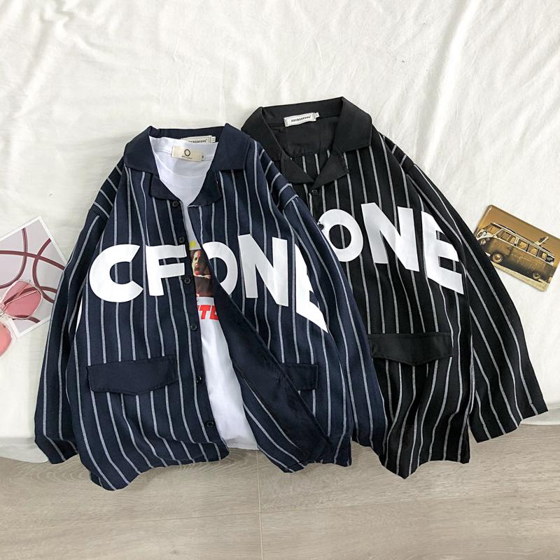 2020秋季新款条纹印花情侣开衫衬衫 SC86-P38 (M-XXL).