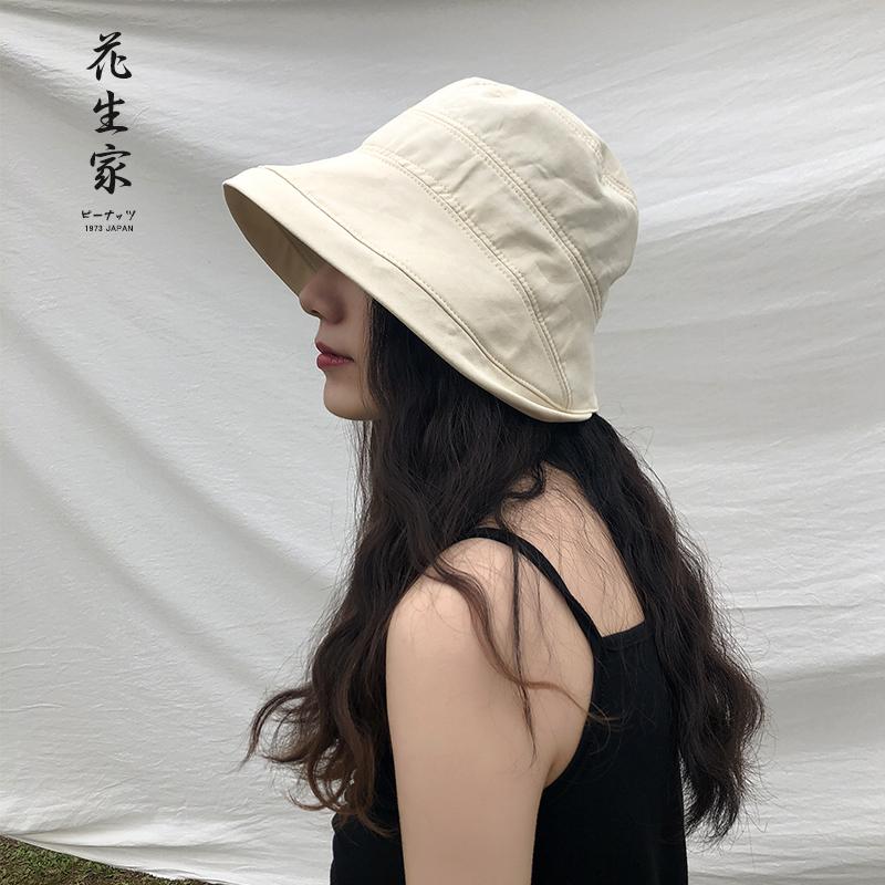 日系全棉透气休闲宽沿渔夫帽女百搭复古盆帽夏季遮阳帽出游太阳帽