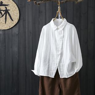 原宿風復古港味棉麻上衣女春寬鬆休閒長袖文藝範襯衫棉紗外搭開衫