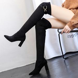 百搭秋季靴子小个子尖头粗跟高跟过膝长靴女2019新款弹力瘦腿高靴