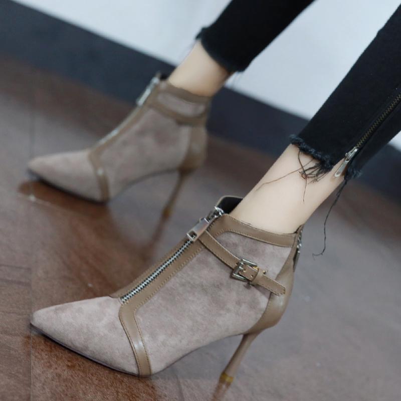 细跟小短靴女2019新款秋冬潮网红高跟鞋牛仔裤马丁靴子女英伦风