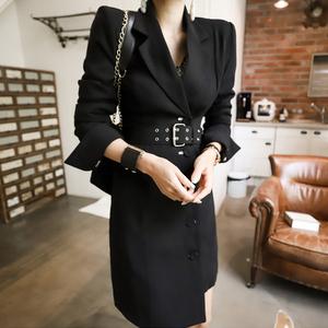 西装外套女2021新款职业西装领单排扣修身中长款,女装西装,依洁服饰
