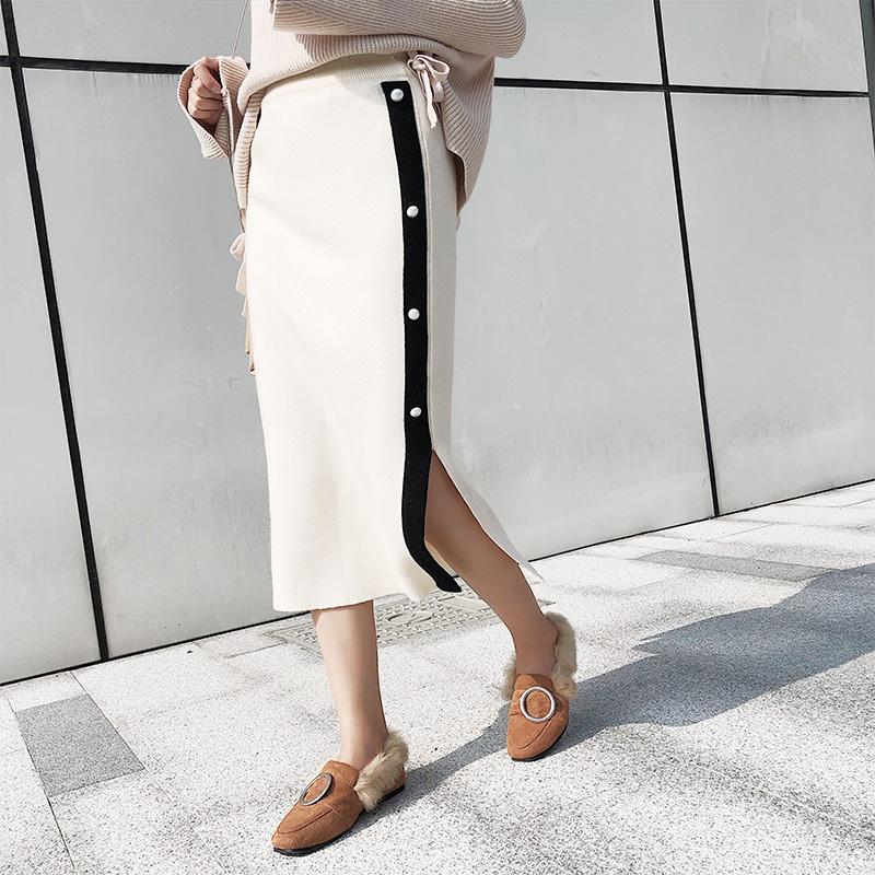 模特實拍側扣包臀針織加厚半身裙
