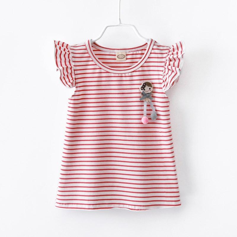 可乐童匠2018新款春秋装女童夏装T恤无袖条纹宝宝洋气可爱上衣