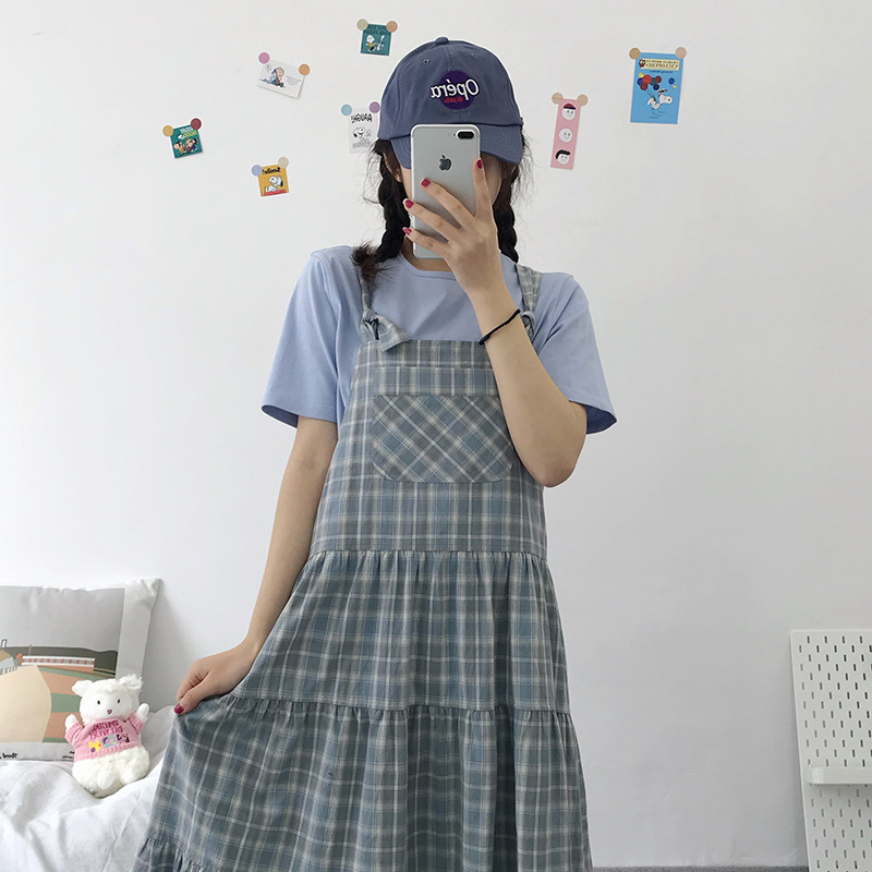 Japanese girl sling fresh check strap loose A-line cake long dress college style summer tide 2020