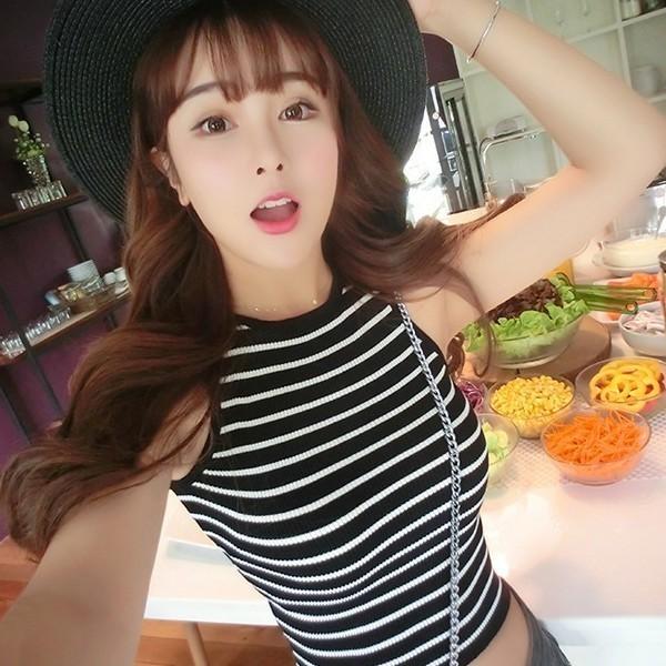 夏季百搭韓版無袖緊身露臍馬甲短款條紋針織小背心打底衫上衣女潮