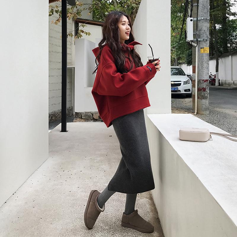 大码女装2019春款两件套装洋气减龄胖MM显瘦洋气长袖卫衣+半身裙