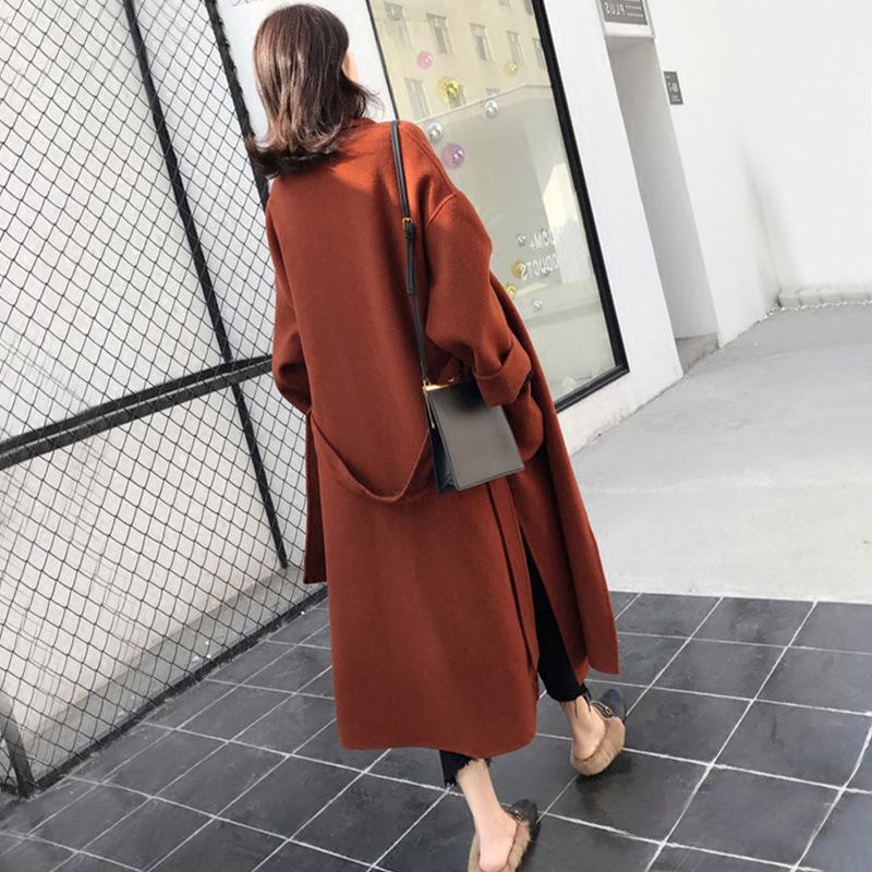 Womens 2020 new windbreaker coat rabbit hair blended woolen coat Long knee windbreaker Korean cashmere coat