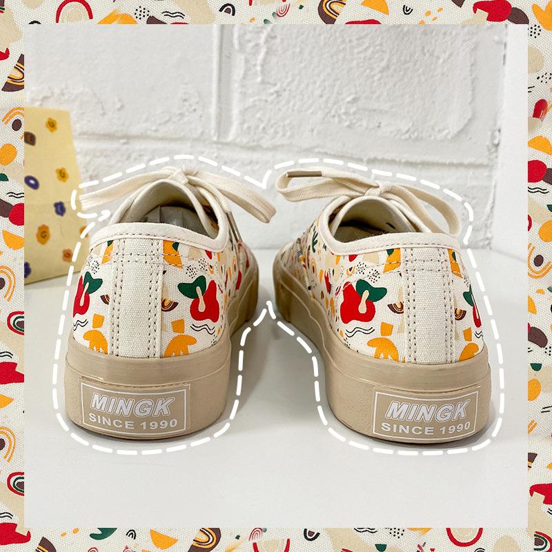 Mimi sauce creative printing design milk tea Tone Flower canvas shoes womens 2021 spring new live cross-border distribution