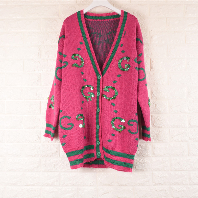 European station 17 early autumn womens new embroidered sequins with letters printed on the front row simple loose sweater cardigan