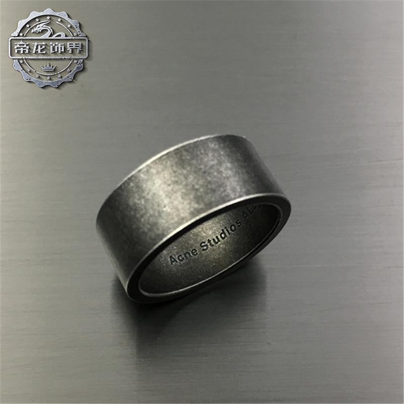 简约复古霸气宽牌钛钢戒指个姓男士潮流朋克平面条形指环配饰品