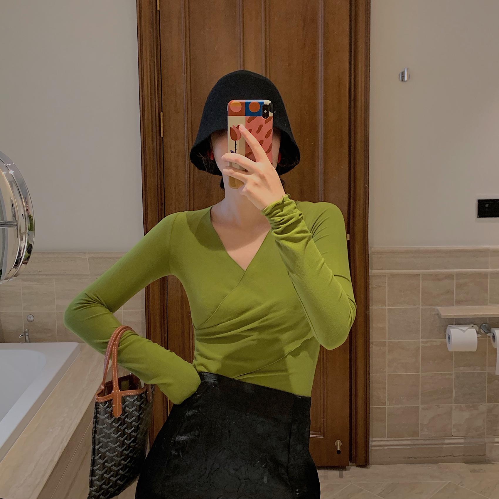 11月21日最新优惠TTSS 牛油果绿上衣女 内搭长袖T恤早秋新款女装2019 打底衫女薄款