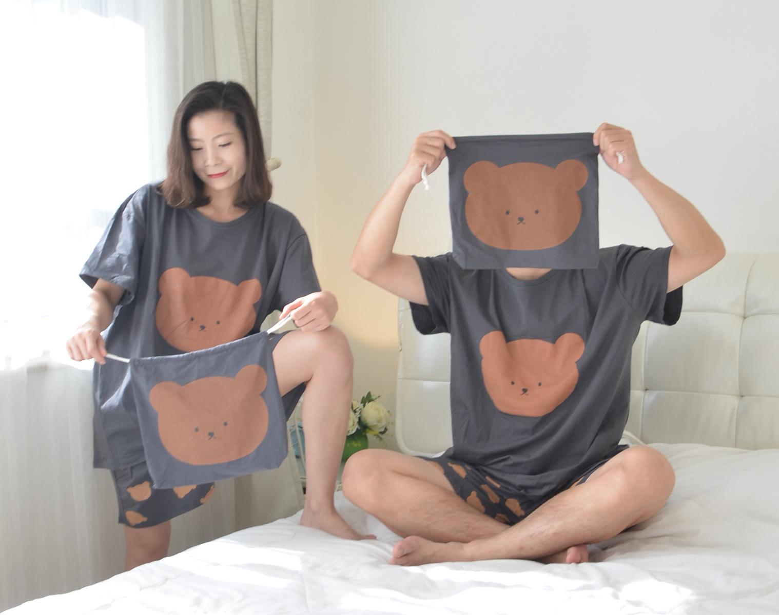 卡通熊情侣睡衣女夏季纯棉加肥大码胖男短袖短裤家居服套装200斤