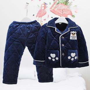 男童冬季法兰绒三层儿童睡衣