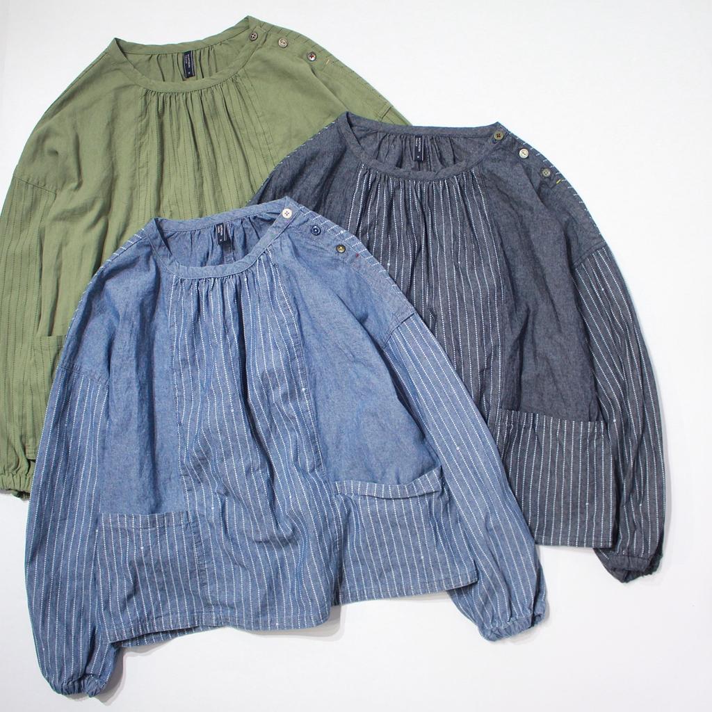 日系套头水洗纯棉宽松拼接牛仔衬衫