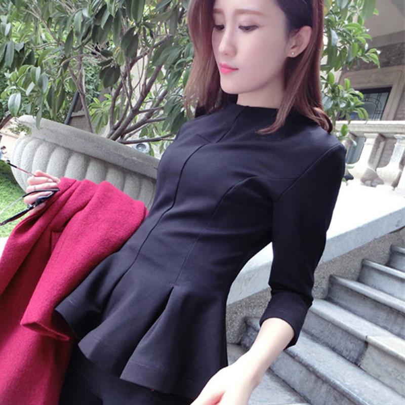秋冬新款圆领紧身收腰大荷叶边裙摆长袖T恤 大码女装 上衣打底衫