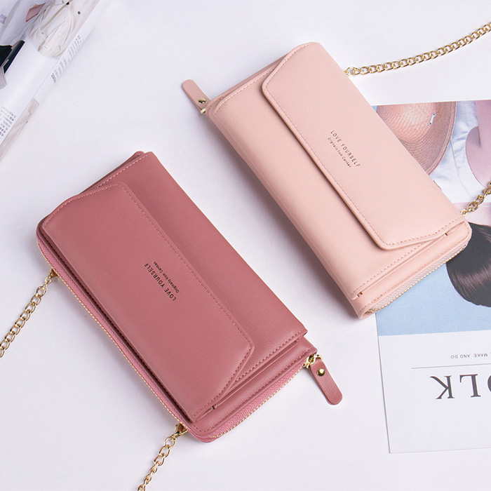 Messenger purse female mobile phone bag chain strip soft leather strap type card bag integrated side backpack female cross bag ins foreign style