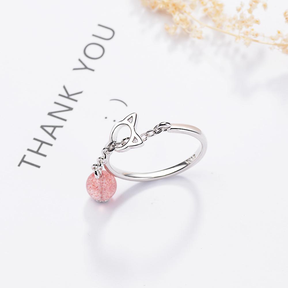 925纯银戒指女韩版风时尚粉色草莓晶指环气质可爱猫咪开口食指戒