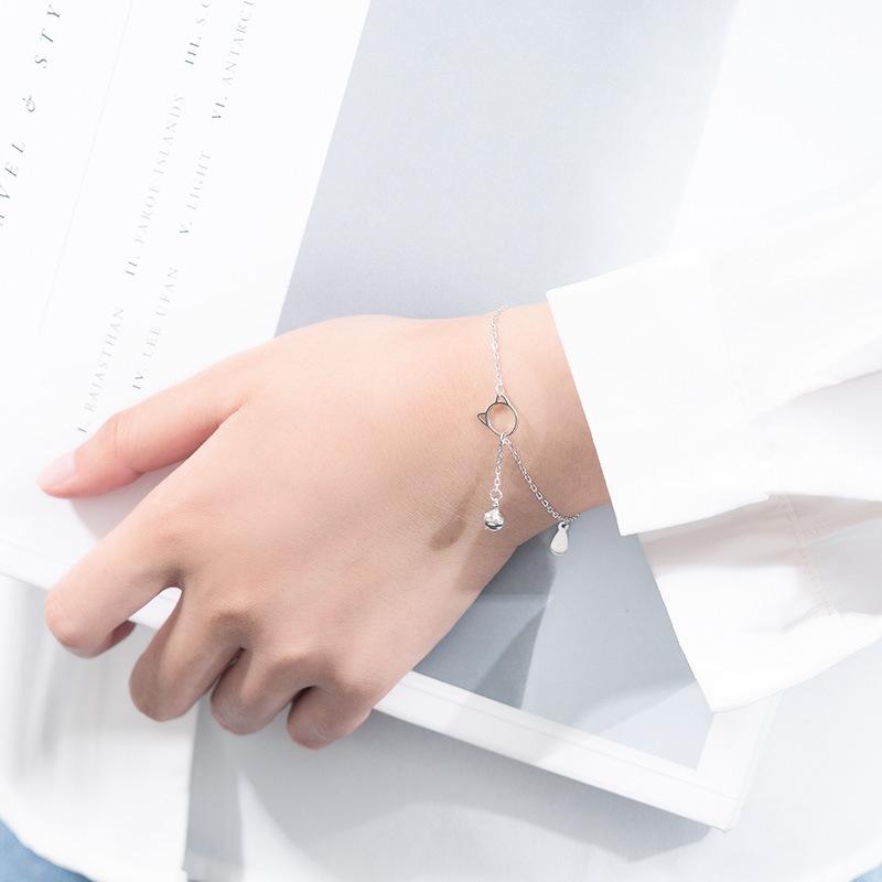 925纯银可爱猫咪铃铛手链女款韩版简约可爱学生配饰森系闺蜜首饰