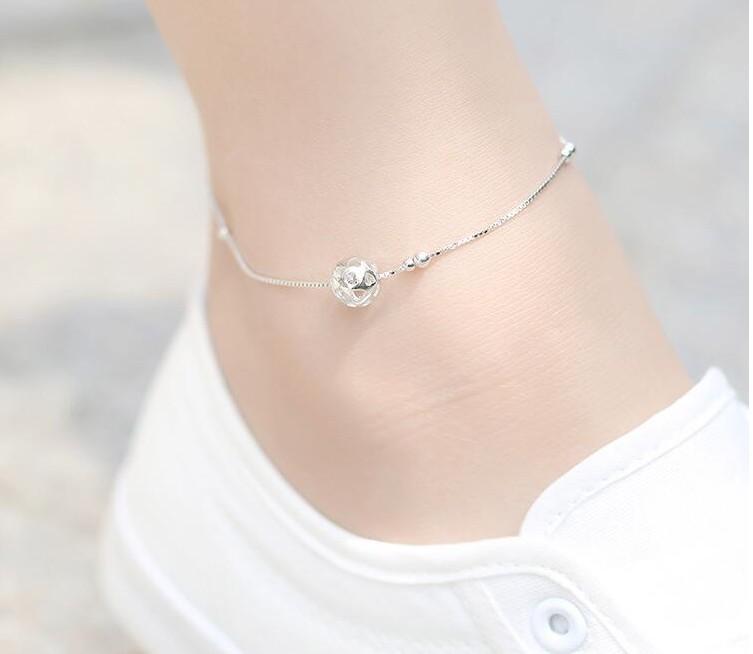 韩版首饰品925女简约爱心纯银脚链