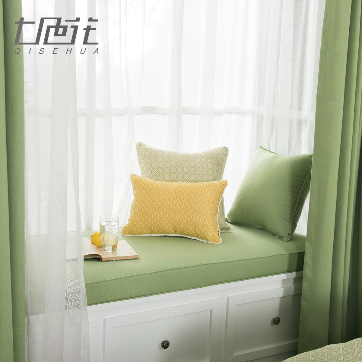 棉麻浅竹绿美式飘窗垫定做田园坐垫热销7件包邮