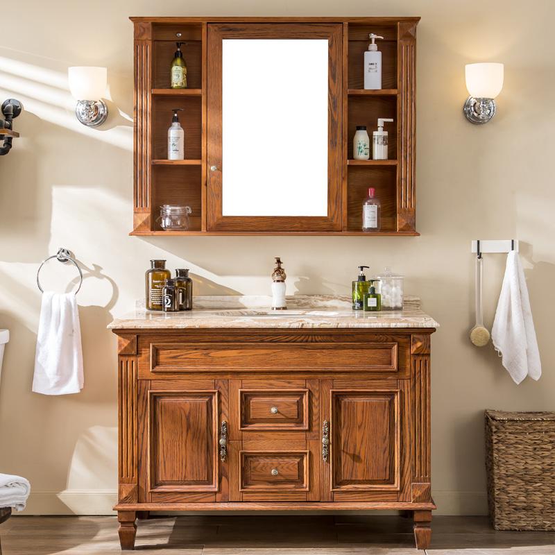 券后2899.00元帝谷美式浴室柜 简欧式落地洗脸盆洗手台盆柜组合红橡木实木镜柜